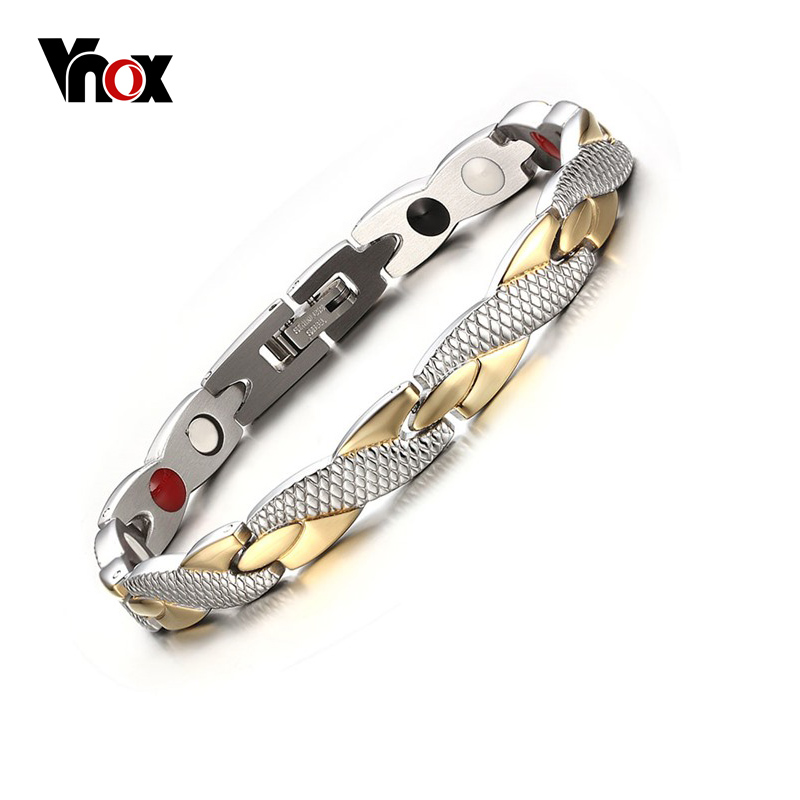 Vnox Twisted Gesunde Magnetische Armband für Frauen Männer Power Therapie Magneten Armbänder Armreifen 7,3