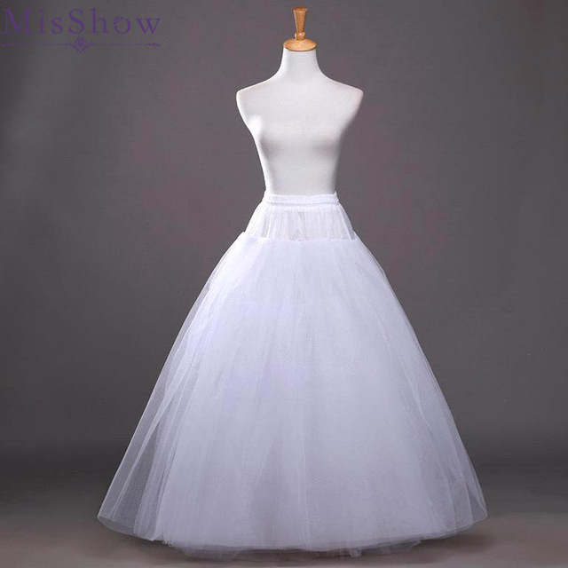 2019 Cheap White A-line Wedding Accessories Ball gown 4 layers tulle hoopless Petticoat Crinoline Skirt Waist adjustable jupon