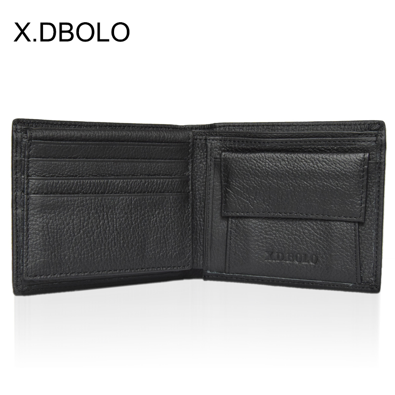 X.D.BOLO Wallet Short Men Wallets Genuine Leather Simple Male Purse Card Holder Wallet Fashion Zipper Pocket Coin Purse Bag