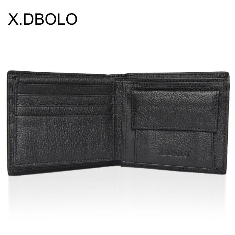X.D.BOLO Wallet Short Men Wallets Genuine Leather Simple Male Purse Card Holder Wallet Fashion Zipper Pocket Coin Purse Bag