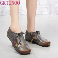 GKTINOO Flats Woman Shoe Handmade Retro Genuine Leather Flats Soft Comfortable Shoes for Women Pregnant Ladies Shoes