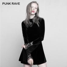 Панк рейв готический черный с длинным рукавом Высокий воротник кружева манжеты платье сексуальное удобное бархатное Мини сшитое маятник для женщин