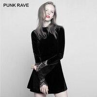 PUNK RAVE New Gothic Black Long sleeved High Collar Lace Cuffs Dress Sexy Comfortable Velvet Mini Stitching A Pendulum Women