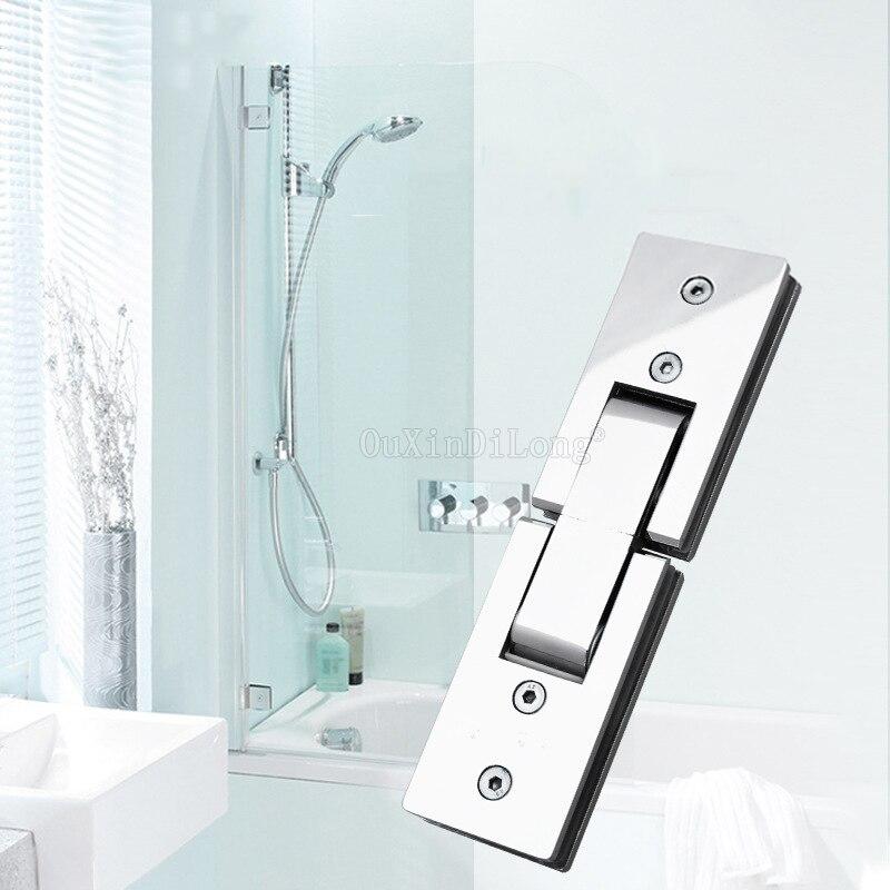 1PCS Duche Retângulo Espelho de 180 Graus Dobradiça de Vidro Dobradiça Do Chuveiro Do Banheiro Do Aço Inoxidável Quadrado Clipe HM17/1