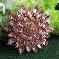NOVA Rosa Nupcial Do Casamento de Cristal Flor Broche Pinos Banhado A Ouro Rhinestone Jóias Presentes da Festa de Casamento