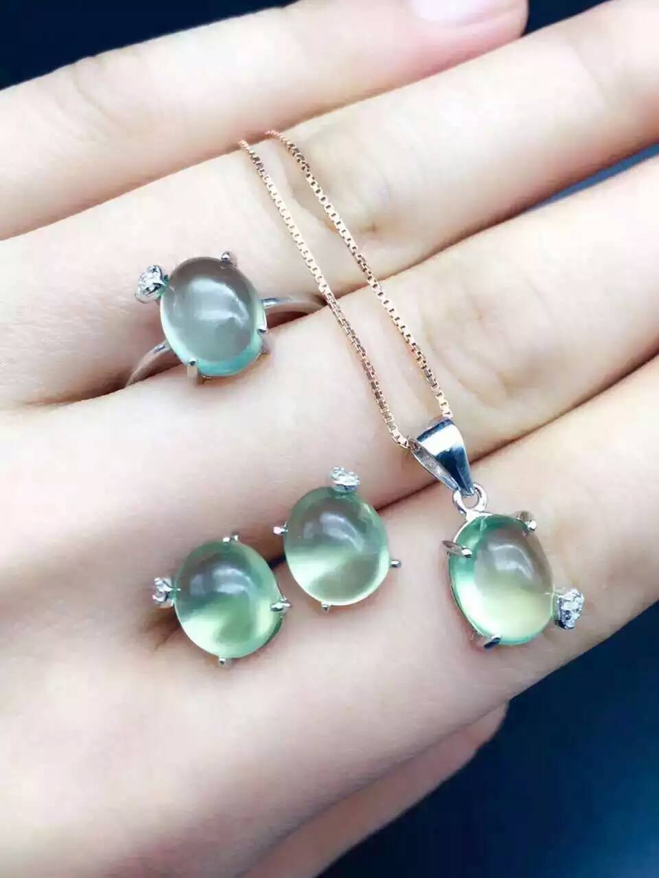 Natural green prehnite gem jewelry sets natural gemstone Pendant ring Earrings 925 silver Stylish elegant round women jewelry цена