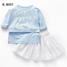 Baby girl sports clothes 7 minutes of sleeve skirt Sets kids 2PCS coat children Cute letter lovely outfits Children Clothing цена 2017