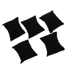 5 x aksamitna bransoletka zegarek biżuteria wyświetlacz poduszka czarna tanie tanio Wristwatches Women Sport Nowy bez tagów 0 6cm 0 45cm 0 9cm Velvet Pudełka do zegarków Velvet Bracelet Watch Jewelry Display Pillow Black