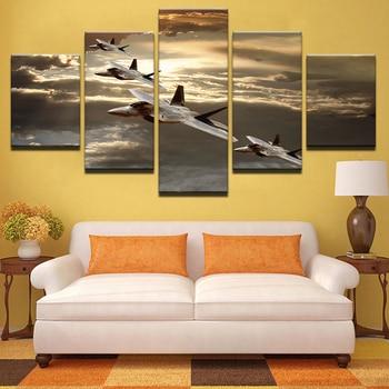 21d204f632 Puesta de sol aviones imágenes cielo avión cartel impresión HD 5 piezas de  lona pintura decoración de hogar Modula marco pared arte TYG