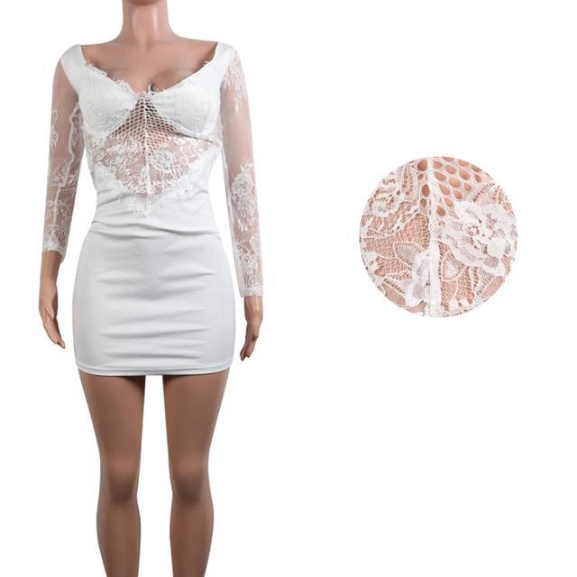 Off shoulder white lace top mini dress