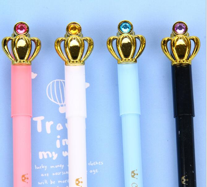 48pcs/lot 16CM Novelty Diamond Crown Black Ink Writing Office Gel Pens Study Materials Kids Birthday Party Take-home Gift Favor