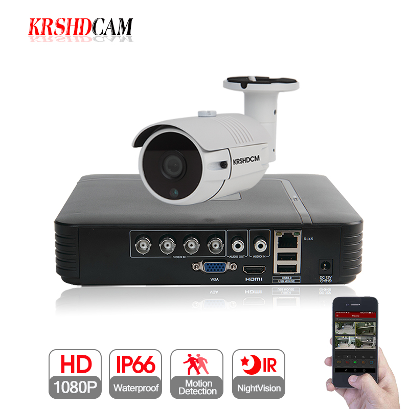 KRSHDCAM 1CH Security CCTV System AHD DVR 30M IR 1PCS 1080P CCTV Camera Outdoor Waterproof Camera Home Video Surveillance Kit spanish two tone double potentiometer 10k 50k