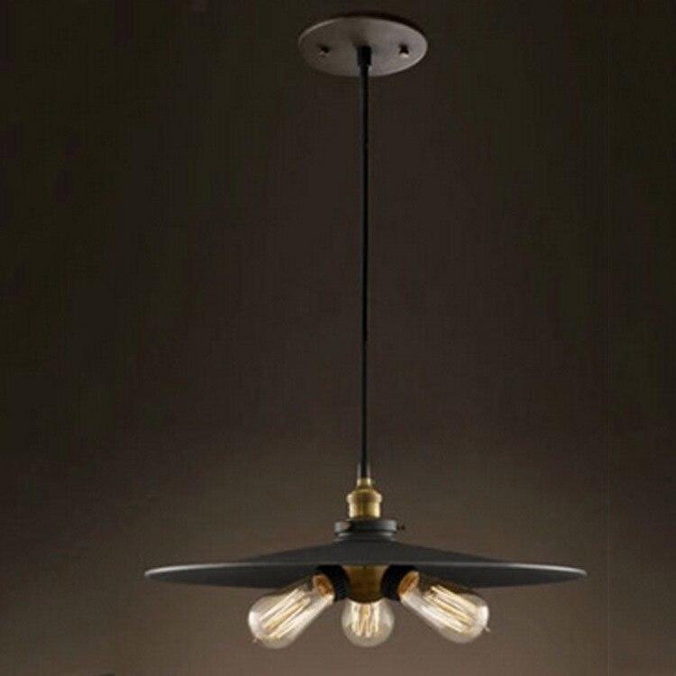 LOFT ретро Art черный гладить три подвесной светильник столовая Бар подвесной светильник e27