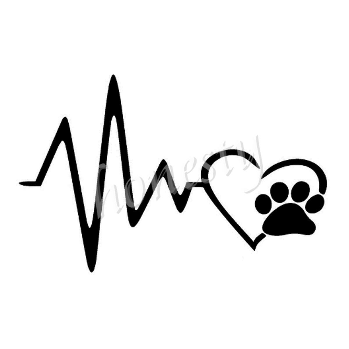 Heart Beat Paw Dog Wall Home Window Glass Door Car Sticker