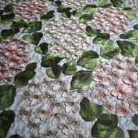 3 yards/pack 3D hydrangea mesh computer embroidery lace fabric for wedding dress shirt cheongsam tissu tissus au metre fabrics