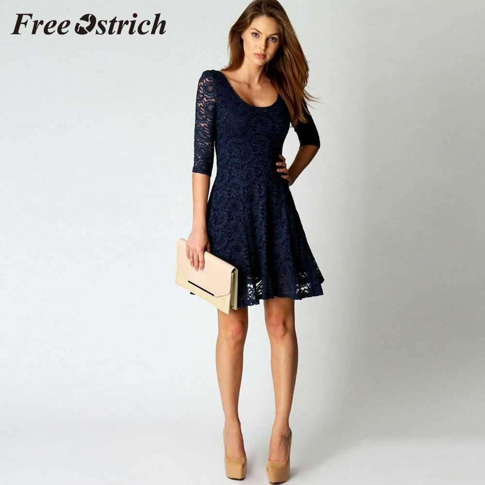 Free Ostrich 2019 Fashion Women Lace Three Quarter Party Evening Short Mini Dress Low Collar Sexy Elegant Dress For Women