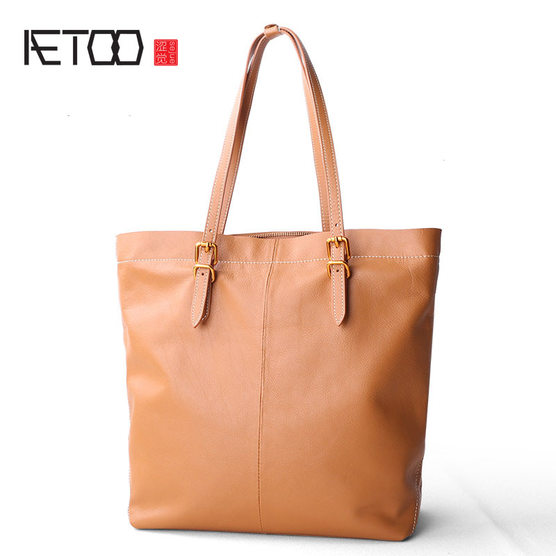 AETOO 2017 new shoulder bag female leather handbag big bag leather simple shoulder to send a large package of special package delin foreign female bag bag handbag shoulder aslant crocodile grain lady handbags package a undertakes the new trend