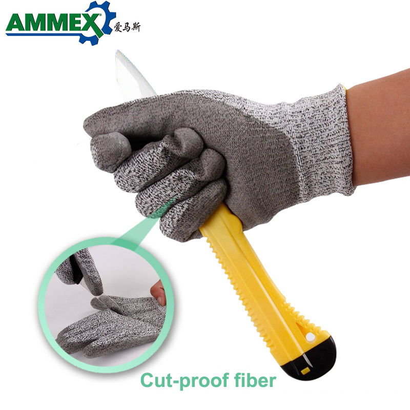 AMMEX Anti-Cut Work Gloves 1 Pair Grey PU Cut-Resistant Safety Hand Glove Working Protection Non-Slip Breathable Mechanical(China)