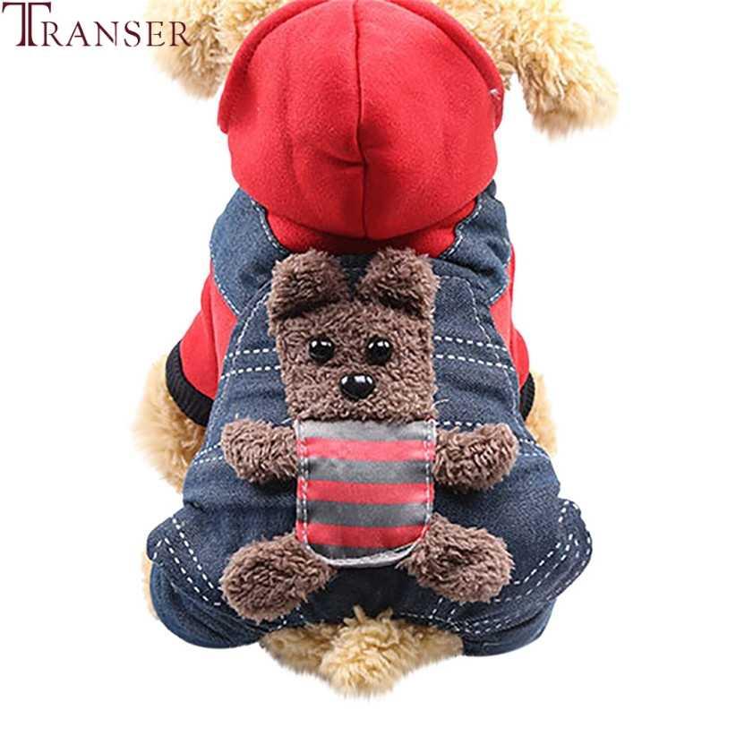 Новый дизайн, джинсы для собак, Комбинезоны для холодной зимы, утолщенная Одежда для собак, теплые толстовки с капюшоном для питомцев, спортивные костюмы с медведем из мультфильма 81016