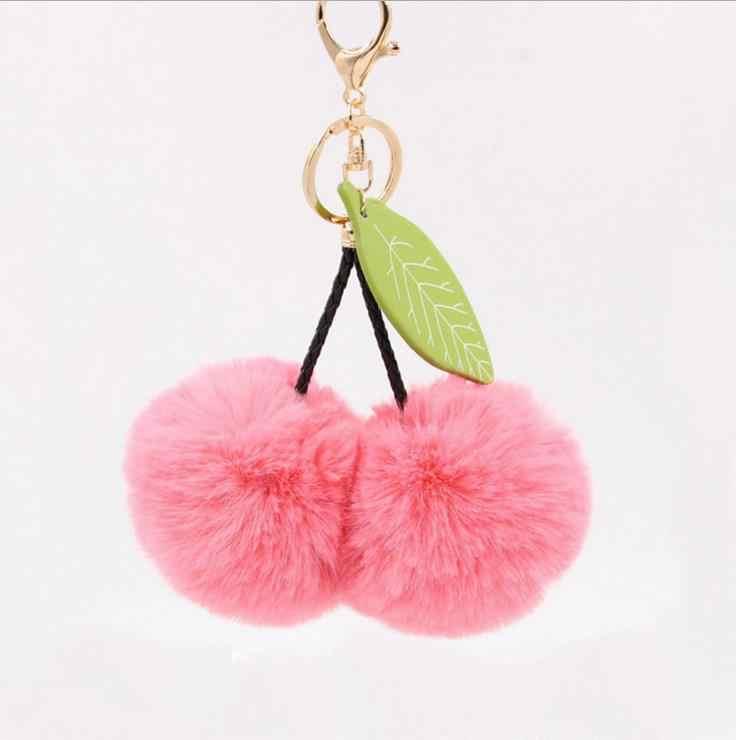 Coelho bonito Pele 8 centímetros Folhas Bola Cereja Keychain Pom Pom Pompom Fofo Chaveiro Car Chaveiro Mulheres Bolsa Pingente porte