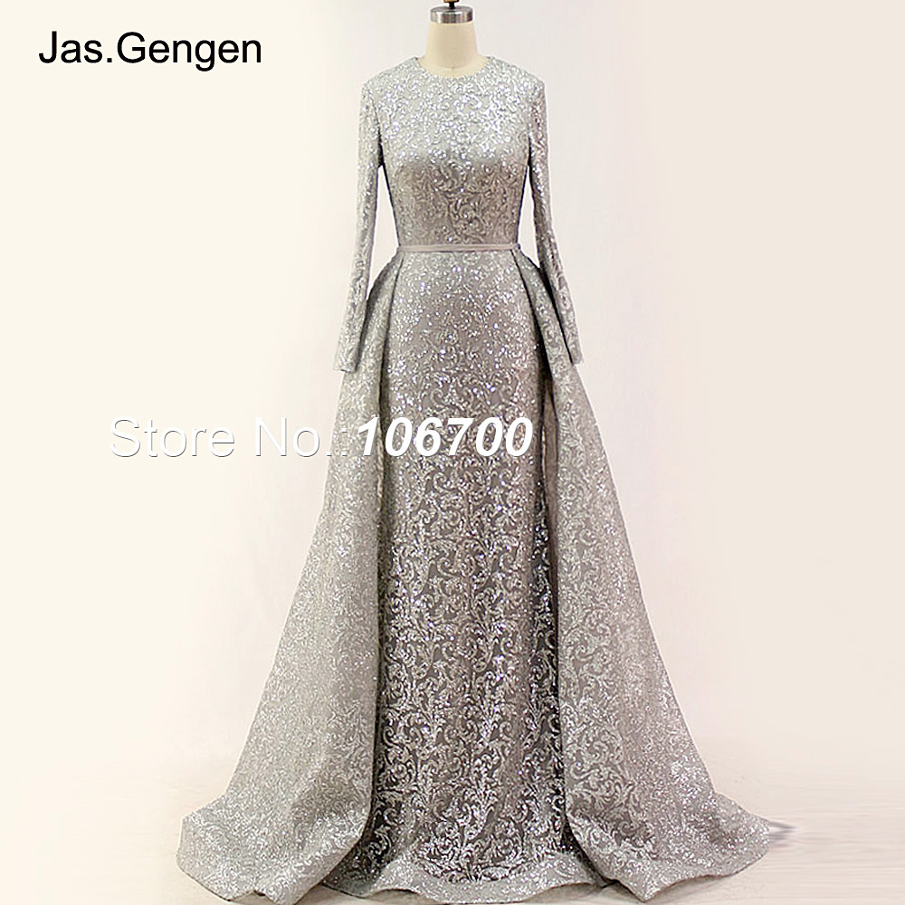 Real Photos Detachable Tail Formal Evening Dresses Glitter Fabric Long  Sleeves O Neck Gold Color Pageant Prom Gowns New Arrival -in Evening Dresses  from ... f30903a46506