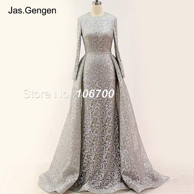 efe4af8a90 US $175.2 20% OFF|Real Photos Detachable Tail Formal Evening Dresses  Glitter Fabric Long Sleeves O Neck Gold Color Pageant Prom Gowns New  Arrival -in ...