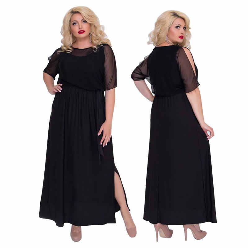 ... 2018 Elegant Evening Party Dress Black Mesh Sexy Women Dress Plus Size  Summer Dress Long Maxi ... 13708113d5b7