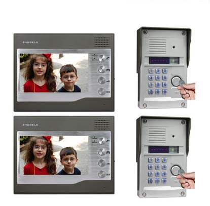 ZHUDELE Security Intercom System For 2 Doors Kits 2X7Video Door Phone+2XHD FRID Panel Camera w/t Password&ID Card Unlocking