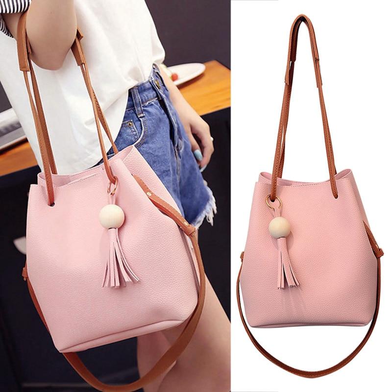 2019 New Fashion Women PU Leather Bucket Shoulder Bag With Small Handbag Messenger Satchel Bag WML99