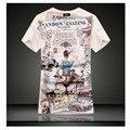 Новый летний стиль урожай с коротким рукавом v шеи 3d напечатаны майка мужчин бренд хлопок мужские футболки мода 2016 мужская одежда