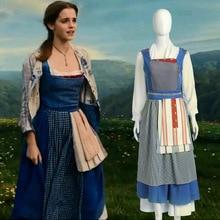Новая Красавица и Чудовище для взрослых принцесса Белль костюм синяя горничная нарядное платье костюм на Хэллоуин S-2XL