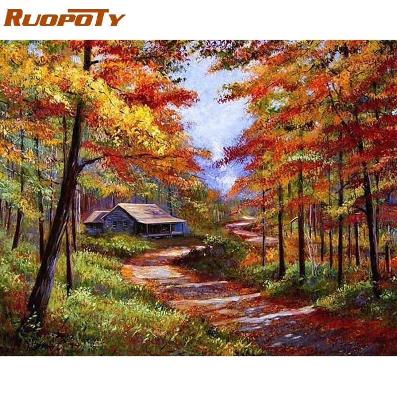 RUOPOTY Πλαίσιο Φθινόπωρο Τοπίο DIY Ζωγραφική με Αριθμούς Mordern Wall Picture Χειροποίητο Ελαιογραφικό Έργο σε καμβά για τοίχο τέχνης