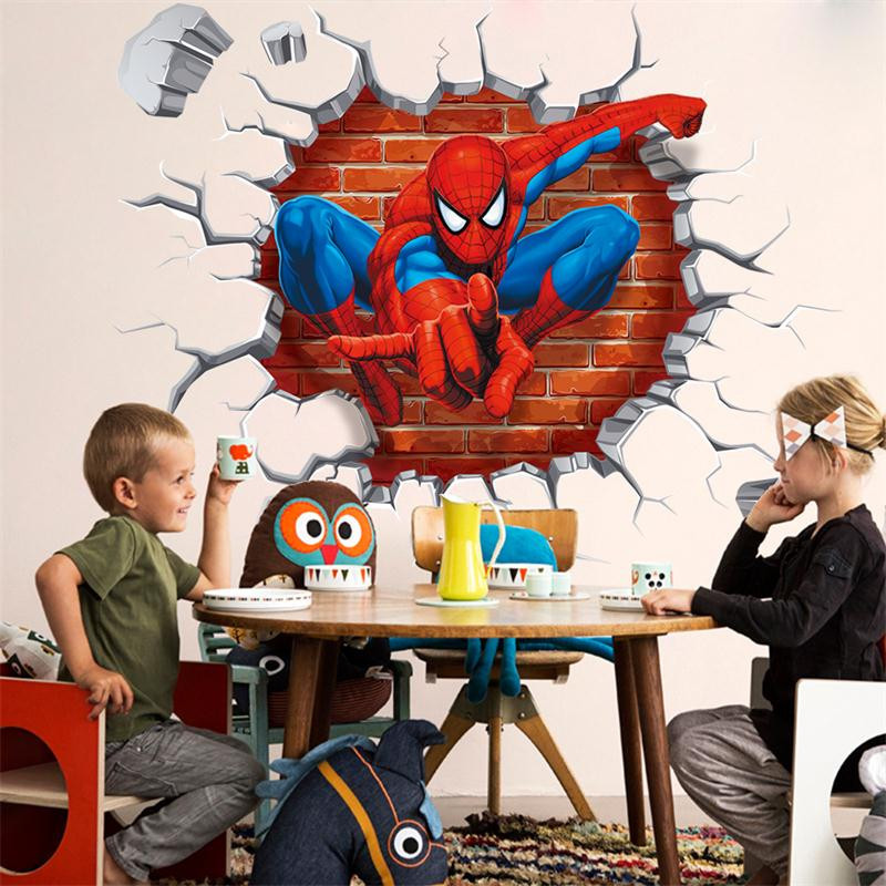 45*50 cm Hot 3D trou célèbre dessin animé film Spiderman stickers muraux pour enfants chambres garçons cadeaux cassé mur décalque cadeau affiche