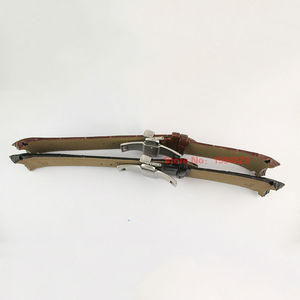 Image 3 - 23mm (אבזם 20mm) t035617A T035439 באיכות גבוהה כסף פרפר אבזם + חום שחור אמיתי עור מעוקל סוף רצועת השעון