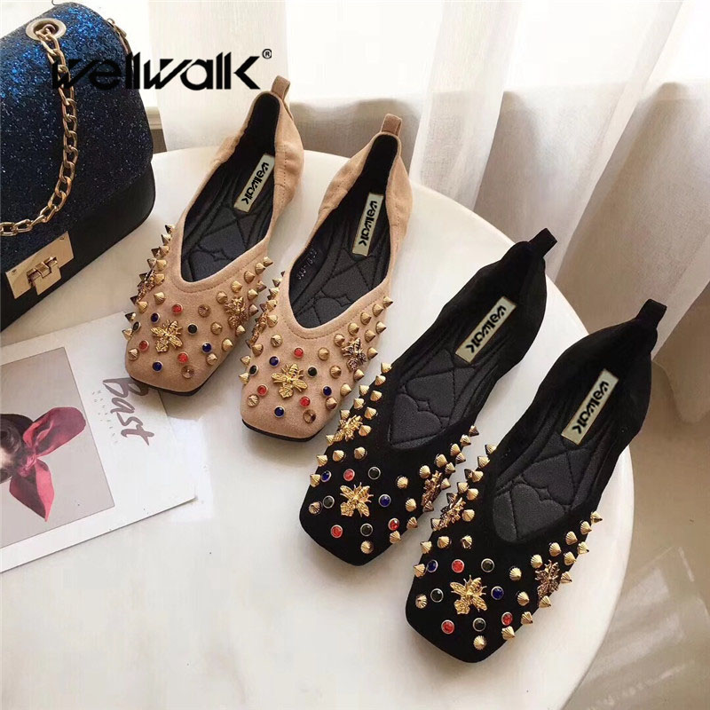 Wellwalk Flats Shoes Women Ballerina Flats Women Shoes Black Flats Ladies Loafers Slip-on Bee Shoes For Women Ballet Flats