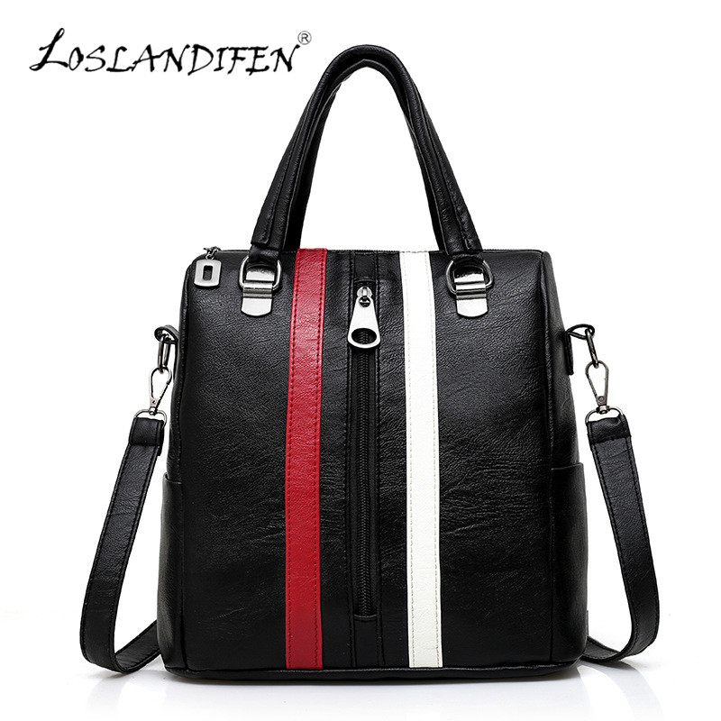 New Multifunctional Ladies Black Backpack Red White Gray Stripes Cute Bear Ornaments Hand Shoulder Messenger 4 Usages Women Bag