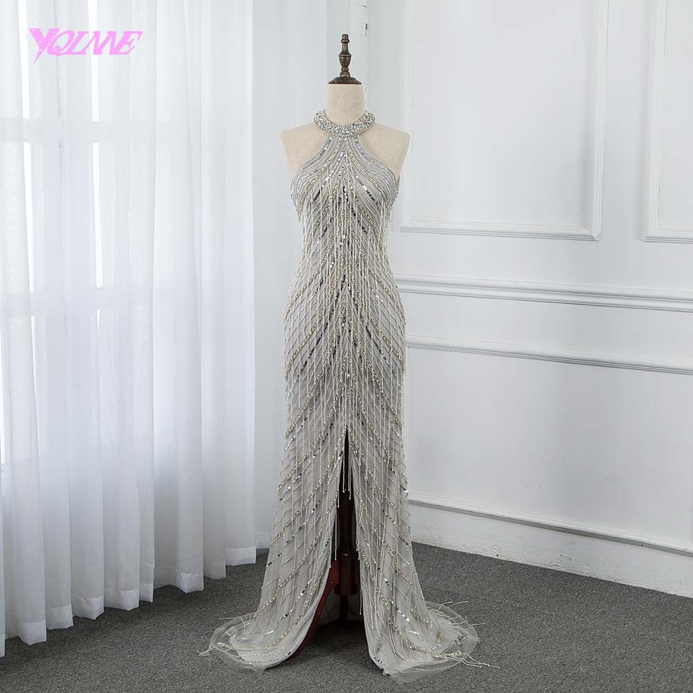 YQLNNE 2019 Sliver Beading Long   Evening     Dress   Halter Tassels Formal Gowns Backless Pageant   Dresses   Robe de Soiree
