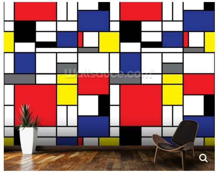 Custom abstract wallpaper,Mondrian,art mural used in the living room office  sofa background wall Home decoration wallpaper