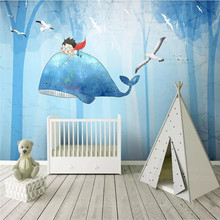Custom mural whale forest cute cartoon childrens room background wall decoration painting wallpaper photo