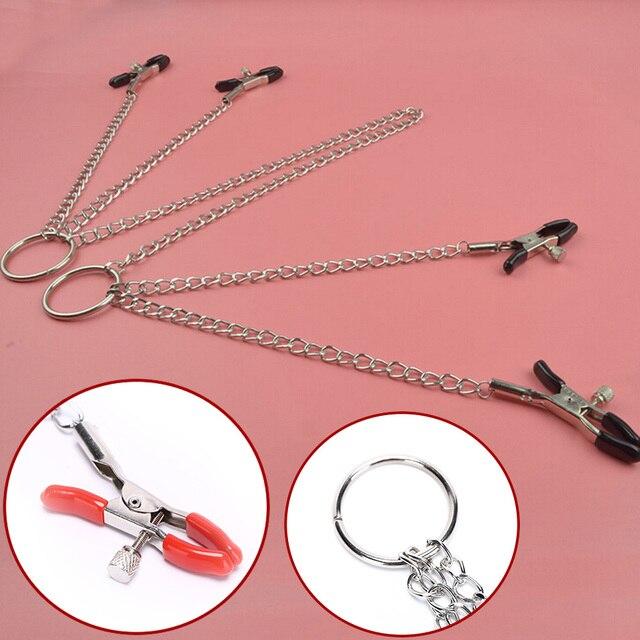 Accesorios exóticos pinzas para pezones Cadena de 4 cabezas estimulación mamaria erótica para parejas mujeres Bdsm Brinquedos Clips para clítoris
