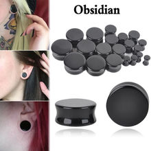 2 Pcs Obsidisn Natural Stone Ear Tunnel Plugs and Gauges Flesh Body Piercing jewelry Ear Reamer Expander Stretching 5mm-25mm