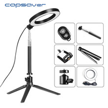 "capsaver 8"" LED Ring Light with Phone Holder Tripod Stand USB Selfie Ring Lamps for Makeup Camera Studio Photo Youtube Shooting(China)"