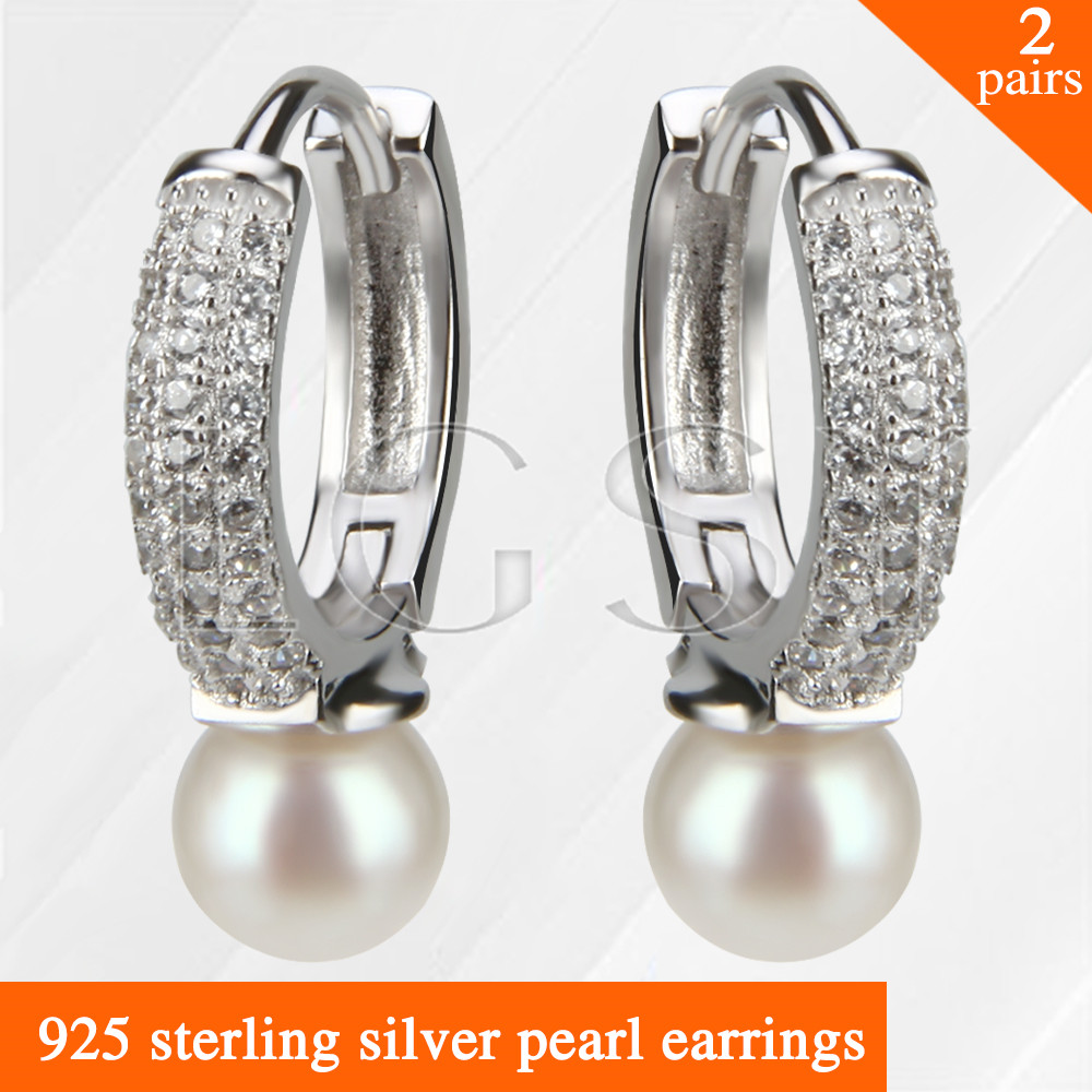 купить LGSY 2pairs Latest beautiful Round design 925 sterling silver girl jewelry pearl earring по цене 3206.76 рублей