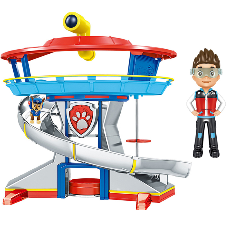 New Paw Patrol Headquarters Lookout Tower Action Figures Toy Car Chase Marshall Rubble Skye Zuma Ryder Various Scenes Model Toy