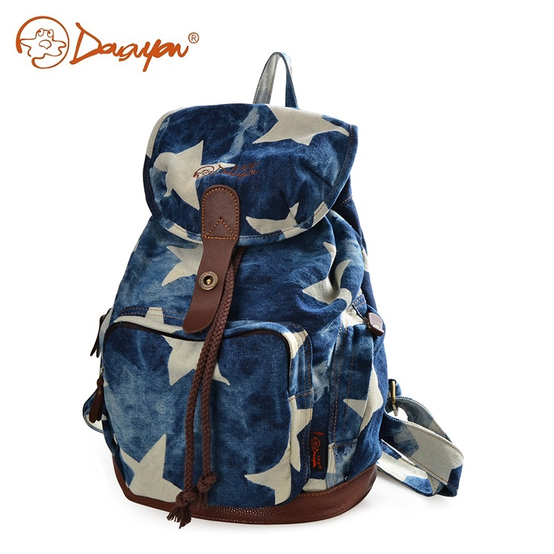 Douguyan Women Backpack Star School Bag Teenagers Casual Fashion Blue Travel Bag Korean Style 13 inches