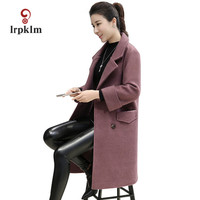 2017 New Women S Woolen Coat Large Size Coat Loose Loose Long Autumn And Winter Ladies