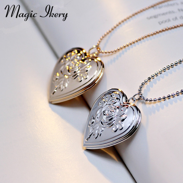 Aliexpress buy magic ikery heart rose pattern pendant magic ikery heart rose pattern pendant jewelry for women gold color heart open heart pendant necklace aloadofball Images