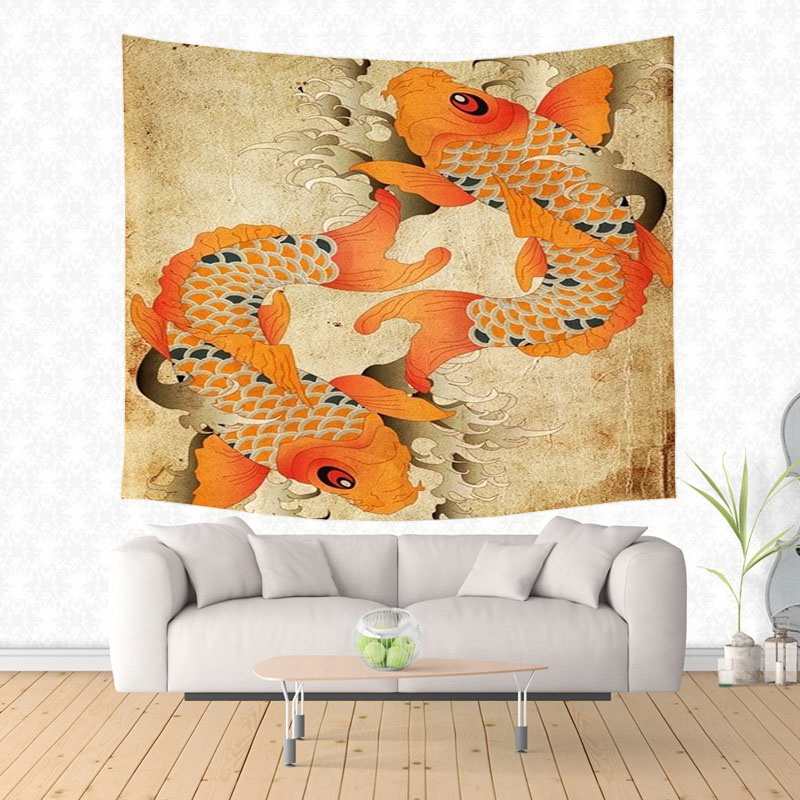 Fancy carp&Koi Tapestry Wall Hanging Customized Bedspread Bedsheets ...
