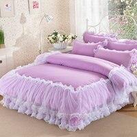 韓国紫レース寝具セットベッドカバー4ピースロマンチックな王女の寝具ベッドセット綿の布団カバーベッドスカート女王王