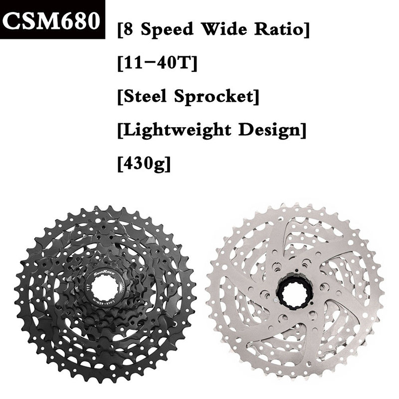 SunRace 8Speed 11-40T Bike Cassette Freewheel fit Shimano SRAM CSM680 Adapter
